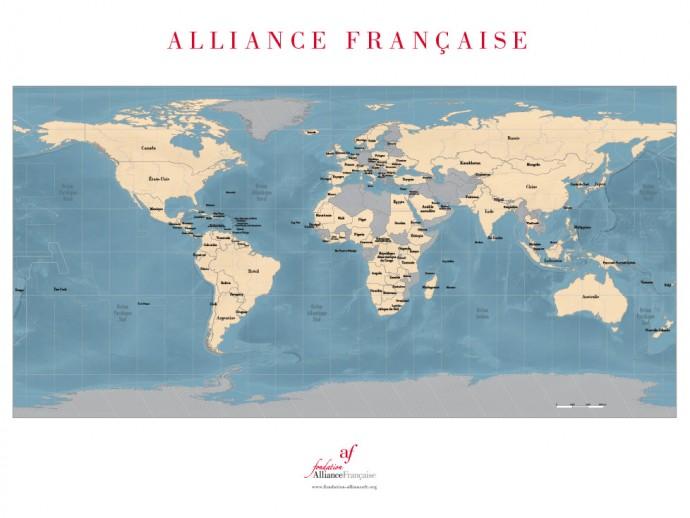 Planisphère des Alliances françaises