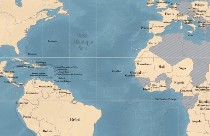 Planisphère des Alliances françaises (détail)