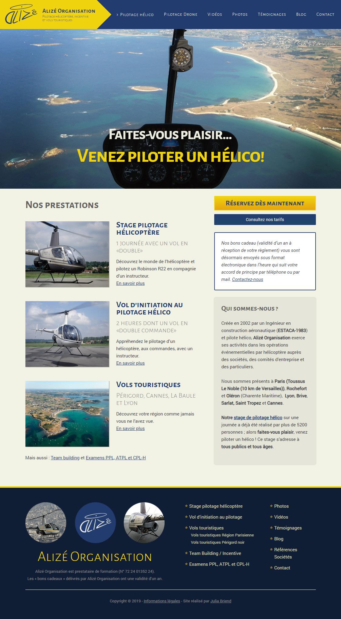 Page d'accueil du site Alizé hélicoptère