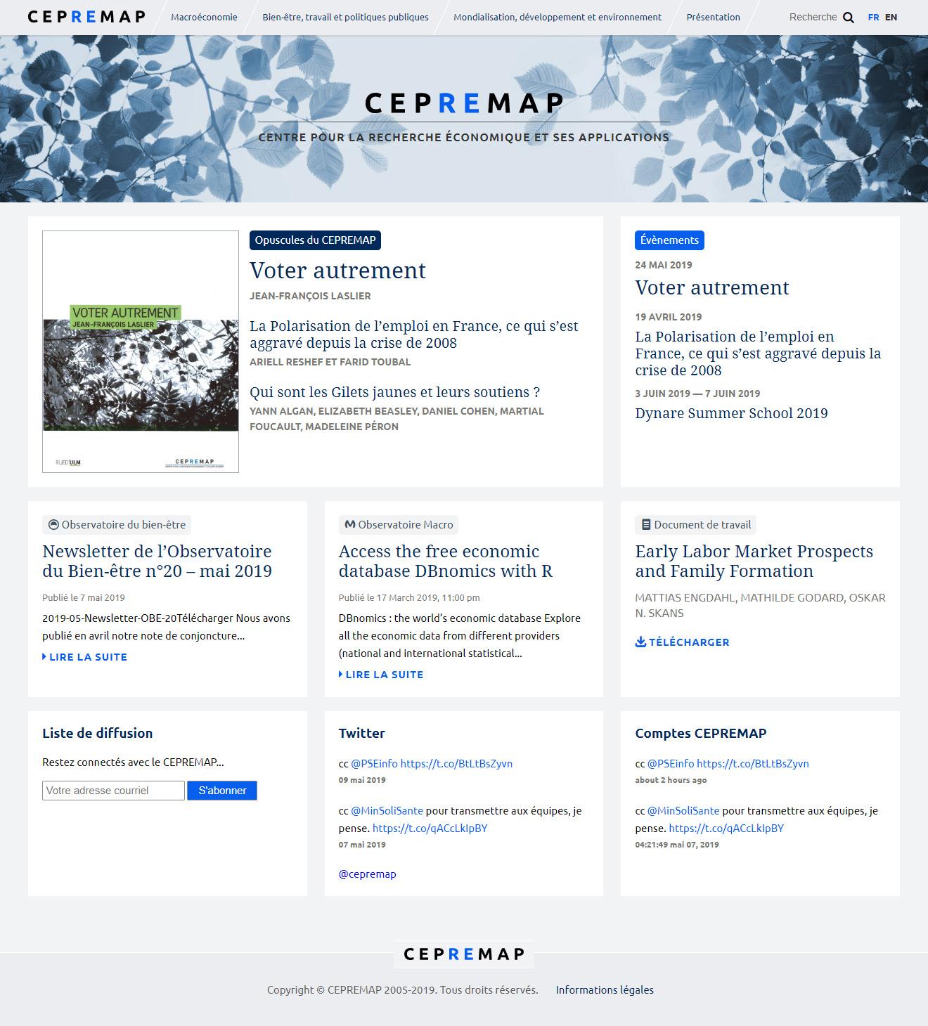 Page d'accueil du site du CEPREMAP
