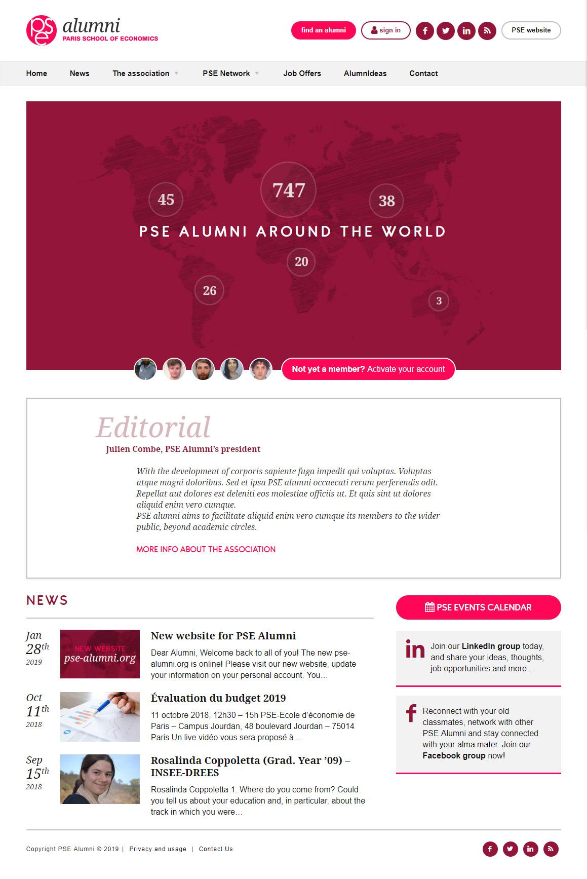 PSE Alumni homepage