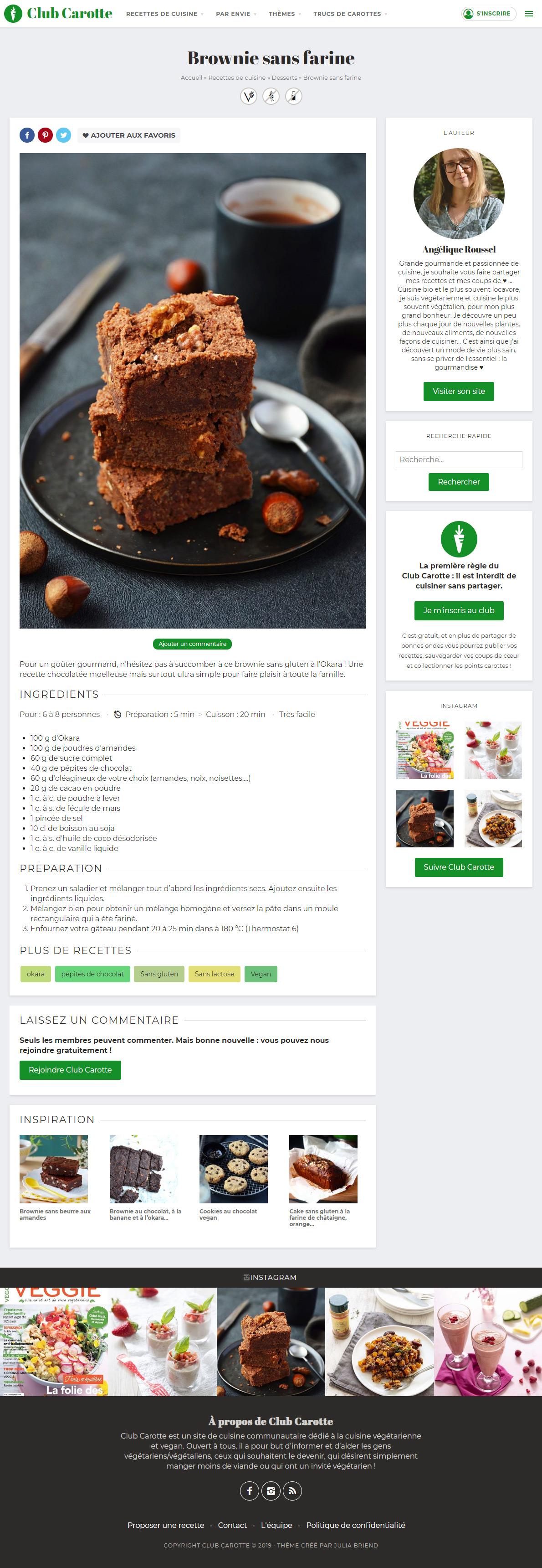 Page recette du site Internet Club Carotte